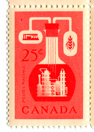 canada stamp: A stamp printed in CANADA  shows image of the Chemical Industry in Canada , circa 1960.