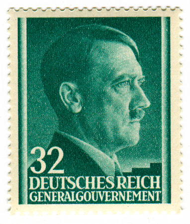 adolf hitler: A stamp printed in GERMANY shows image of the Adolf Hitler (20 April 1889 - 30 April 1945) was an Austrian-born German politician who was the leader of the Nazi Party (NSDAP), Chancellor of Germany from 1933 to 1945, and Führer (leader) of Nazi Germany