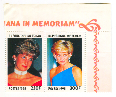 eldest: A stamp printed in Chad shows image of the Diana, Princess of Wales (1 July 1961 - 31 August 1997), was the first wife of Charles, Prince of Wales, who is the eldest child and heir apparent of Queen Elizabeth II, circa 1998.