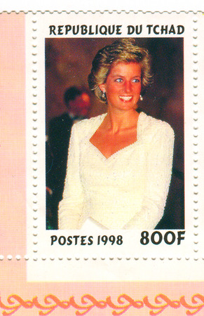 heir: A stamp printed in Chad shows image of the Diana, Princess of Wales (1 July 1961 - 31 August 1997), was the first wife of Charles, Prince of Wales, who is the eldest child and heir apparent of Queen Elizabeth II, circa 1998.