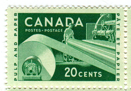 A stamp printed in CANADA  shows image of the Paper Industry in Canada, circa 1960.
