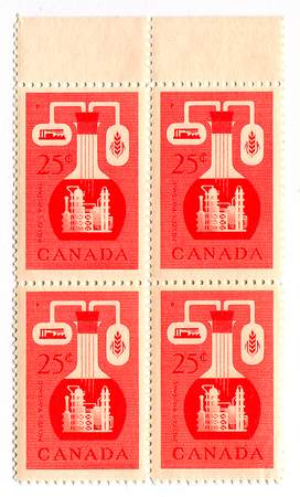 canada stamp: A stamp printed in CANADA  shows image of the Chemical Industry in Canada, circa 1960.