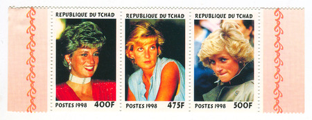 apparent: A stamp printed in Chad shows image of the Diana, Princess of Wales (1 July 1961 - 31 August 1997), was the first wife of Charles, Prince of Wales, who is the eldest child and heir apparent of Queen Elizabeth II, circa 1998.