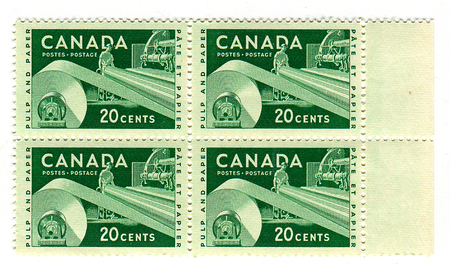 canada stamp: A stamp printed in CANADA  shows image of the Paper Industry in Canada, circa 1960.
