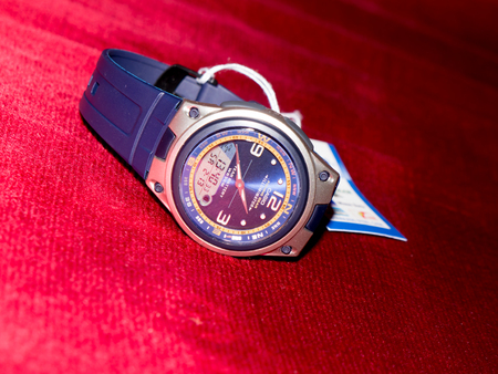 headquartered: GOMEL, BELARUS - FEBRUARY 13, 2016: The Japanese watch Casio Fishing Gear 10 Years Battery AW-82-1AVDF. Casio Computer Company, Limited is a multinational electronics manufacturing company headquartered in Shibuya, Tokyo, Japan Editorial