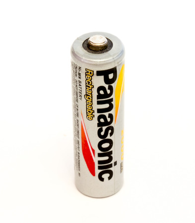 alkaline: GOMEL, BELARUS - FEBRUARY 2, 2016: PANASONIC AA alkaline battery on a white background. Panasonic Corporation, (Matsushita Electric Industrial Co., Ltd.), is a Japanese multinational electronics corporation headquartered in Kadoma, Osaka, Japan.
