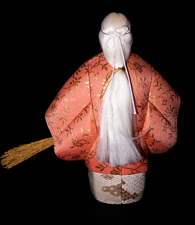 literally: GOMEL, BELARUS - MAY 24, 2015: The Antique Kimekomi Japanese doll old woman Uba depicting a Noh play, The Old Couple from Takasago. Japanese traditional dolls are known by the name ningyo in Japan, which literally means human shape.