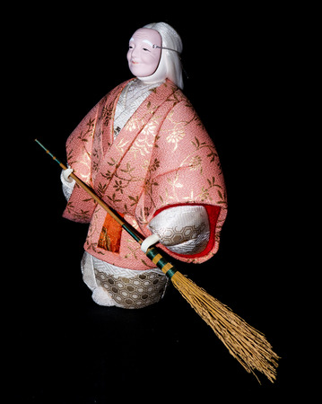 noh: GOMEL, BELARUS - MAY 24, 2015: The Antique Kimekomi Japanese doll old woman Uba depicting a Noh play, The Old Couple from Takasago. Japanese traditional dolls are known by the name ningyo in Japan, which literally means human shape.