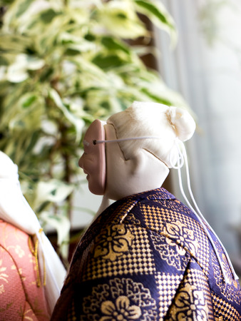GOMEL, BELARUS - MAY 24, 2015: The Antique Kimekomi Japanese doll old man Jo depicting a Noh play, The Old Couple from Takasago. Japanese traditional dolls are known by the name ningyo in Japan, which literally means human shape. Editorial
