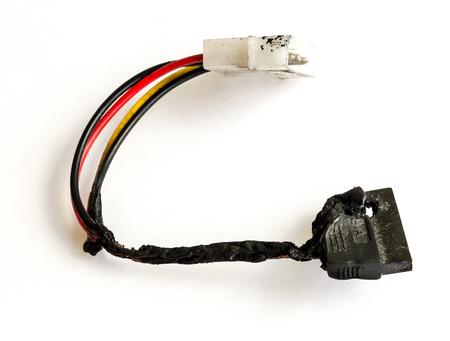 The burnt cable sata PC. Stock Photo
