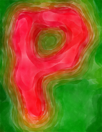 The P letter painted watercolor. Stock Photo
