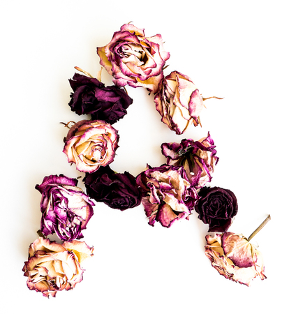 initials: Rose dried Initials letter A.