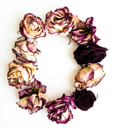 Rose dried Initials letter O. Stock Photo