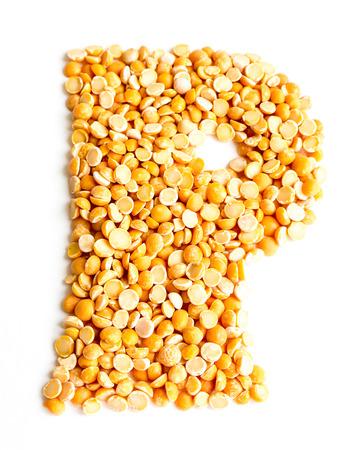 initials: The peas Initials letter P. Stock Photo