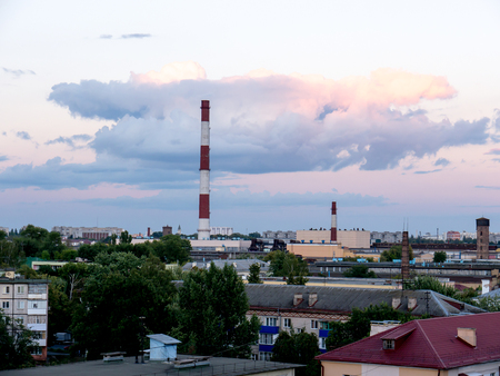 smokestacks: The city outdoor Factory chimneys.