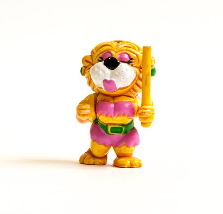 kinder: GOMEL, BELARUS - September 13, 2016: Kinder surpise Miniature toy tiger, by Ferero. Ferrero SpA  is an Italian manufacturer of branded chocolate.