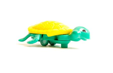 kinder: GOMEL, BELARUS - September 13, 2016: Kinder surpise Miniature toy turtle, by Ferero. Ferrero SpA  is an Italian manufacturer of branded chocolate.