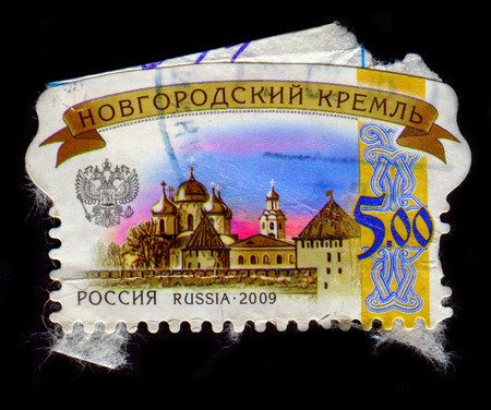 GOMEL, BELARUS, 1 FEBRUARY 2017, Stamp printed in Russia shows image of the Novgorod Kremlin (also Detinets) stands on the left bank of the Volkhov River in Veliky Novgorod about two miles north of where it empties out of Lake Ilmen, circa 2009. Editorial
