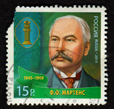 GOMEL, BELARUS, 1 FEBRUARY 2017, Stamp printed in Russia shows image of the Friedrich Fromhold Martens, was a diplomat and jurist in service of the Russian Empire, circa 2014. Editorial