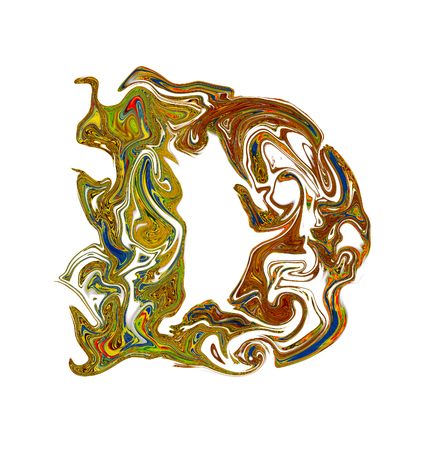 luxuriously: Luxuriously illustrated painted letter D. Stock Photo