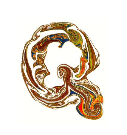 luxuriously: Luxuriously illustrated old capital letter Q.