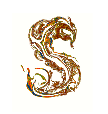 luxuriously: Luxuriously illustrated painted letter S.
