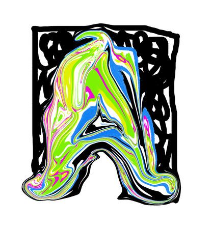 garabatos: Pintado por la letra A. Foto de archivo