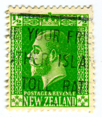 GOMEL, BELARUS, 22 MARCH 2017, Stamp printed in New Zealand shows image of the Edward VIII was King of the United Kingdom and the Dominions of the British Empire, and Emperor of India.