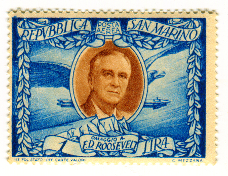 GOMEL, BELARUS, 21 MARCH 2017, Stamp printed in San Marino shows image of the Franklin Delano Roosevelt political leader who served as the 32nd President of the United States from 1933 until his death in 1945.