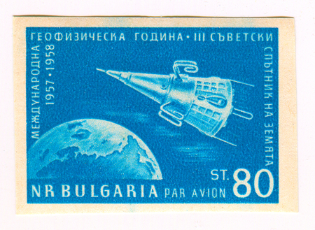GOMEL, BELARUS, 22 MARCH 2017, Stamp printed in Bulgaria shows image of the Sputnik 3 was a Soviet satellite launched on May 15, 1958 from Baikonur Cosmodrome by a modified R-7SS-6 ICBM, circa 1958.