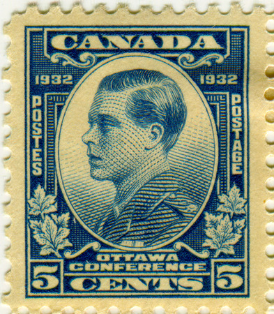 canada stamp: GOMEL, BELARUS, 21 MARCH 2017, Stamp printed in Canada shows image of the Edward VIII was King of the United Kingdom and the Dominions of the British Empire, and Emperor of India, circa 1932. Editorial