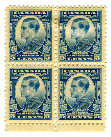 GOMEL, BELARUS, 21 MARCH 2017, Stamp printed in Canada shows image of the Edward VIII was King of the United Kingdom and the Dominions of the British Empire, and Emperor of India, circa 1932. Editorial