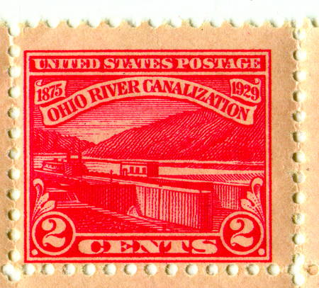 GOMEL, BELARUS, 21 MARCH 2017, Stamp printed in USA shows image of the Ohio River Canalization, circa 1929.