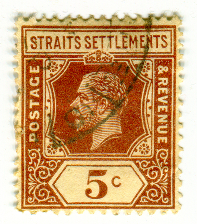 GOMEL, BELARUS, 23 MARCH 2017, Stamp printed in Malaysia shows image of the George V  was King of the United Kingdom and the British Dominions, and Emperor of India, circa 1909.