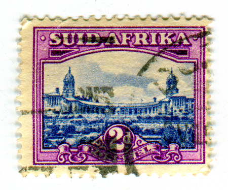 suid: GOMEL, BELARUS, 24 MARCH 2017, Stamp printed in Suid Africa shows image of the Union Buildings form the official seat of the South African government and also house the offices of the president of South Africa, circa 1947. Editorial