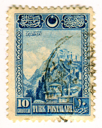 GOMEL, BELARUS, 24 MARCH 2017, Stamp printed in Turkey shows image of the Turkish architecture, circa 1926. Editorial
