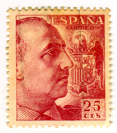 GOMEL, BELARUS, 30 MARCH 2017, Stamp printed in Spain shows Francisco Franco Bahamonde was a Spanish general who ruled over Spain as a military dictator for 36 years from 1939 until his death, circa 1960.