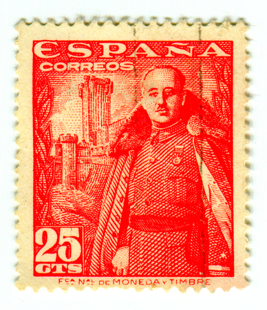 GOMEL, BELARUS, 30 MARCH 2017, Stamp printed in Spain shows Francisco Franco Bahamonde was a Spanish general who ruled over Spain as a military dictator for 36 years from 1939 until his death, circa 1950. Editorial