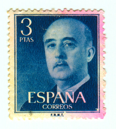 philately: GOMEL, BELARUS, 30 MARCH 2017, Stamp printed in Spain shows Francisco Franco Bahamonde was a Spanish general who ruled over Spain as a military dictator for 36 years from 1939 until his death, circa 1960.