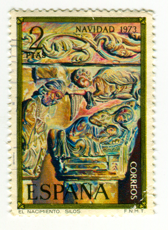 GOMEL, BELARUS, 30 MARCH 2017, Stamp printed in Spain shows Nativity, Column Capital from Silos, circa 1973.