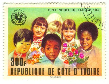armaments: GOMEL, BELARUS, 30 MARCH 2017, Stamp printed in Ivory Coast shows image of the Nobel Peace Prize is one of the five Nobel Prizes created by the Swedish industrialist, inventor, and armaments manufacturer Alfred Nobel, circa 1965.