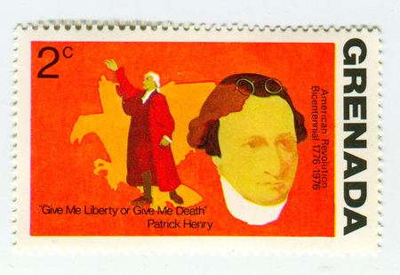 GOMEL, BELARUS, 30 MARCH 2017, Stamp printed in Grenada shows image of the American Revolution Bicentenial 1776-1976, circa 1976. Editorial