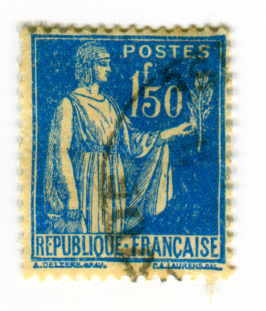 fertility goddess: GOMEL, BELARUS, 2 APRIL 2017, Stamp printed in France shows image of the Ceres was a goddess of agriculture, grain crops, fertility and motherly relationships, circa 1928.