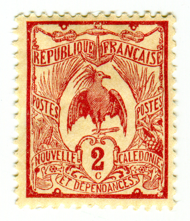 philately: GOMEL, BELARUS, 2 APRIL 2017, Stamp printed in France shows image of the Nlle Caledonie Cagou, circa 1905.