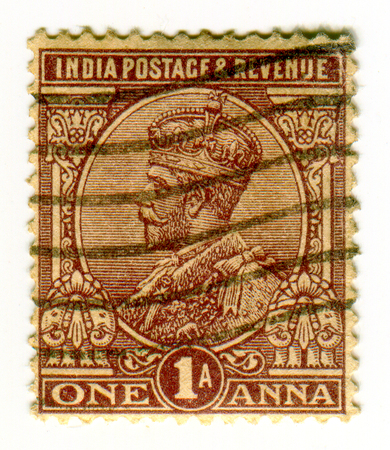 GOMEL, BELARUS, 1 APRIL 2017, Stamp printed in India shows image of the George V (George Frederick Ernest Albert; 3 June 1865 - 20 January 1936) was King of the United Kingdom and the British Dominions, and Emperor of India, from 6 May 1910 until his deat
