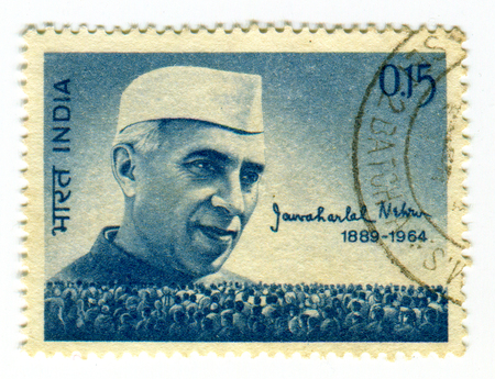 philately: GOMEL, BELARUS, 1 APRIL 2017, Stamp printed in India shows image of the Jawaharlal Nehru (14 November 1889 - 27 May 1964) was the first Prime Minister of India and a central figure in Indian politics, circa 1964  .