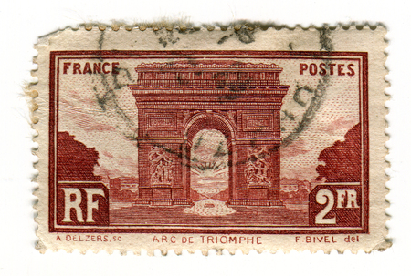 philately: GOMEL, BELARUS, 2 APRIL 2017, Stamp printed in France shows image of The Arc de Triomphe de lEtoile is one of the most famous monuments in Paris, standing at the western end of the Champs-Elysees at the center of Place Charles de Gaulle, formerly named P Editorial