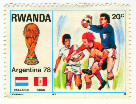 GOMEL, BELARUS, APRIL 4, 2017. Stamp printed in Rwanda shows image of  The 1978 FIFA World Cup, the 11th staging of the FIFA World Cup, quadrennial international football world championship tournament, was held in Argentina between 1 and 25 June, circa 19 Editorial