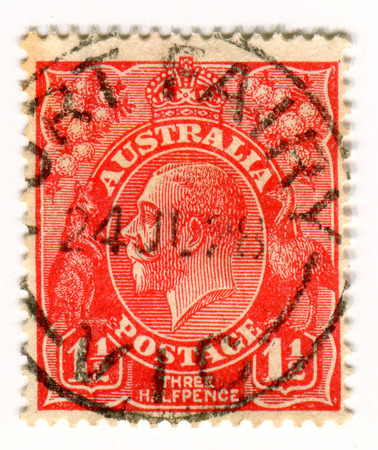 philately: GOMEL, BELARUS, APRIL 4, 2017. Stamp printed in Australia shows image of  The George V (George Frederick Ernest Albert) was King of the United Kingdom and the British Dominions, and Emperor of India, from 6 May 1910 until his death in 1936, circa 1928. Editorial