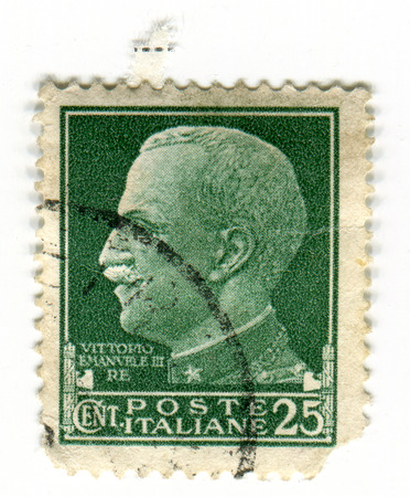 victor: GOMEL, BELARUS, APRIL 5, 2017. Stamp printed in Italy shows image of  The Victor Emmanuel III was the King of Italy from 29 July 1900 until his abdication on 9 May 1946, circa 1930.